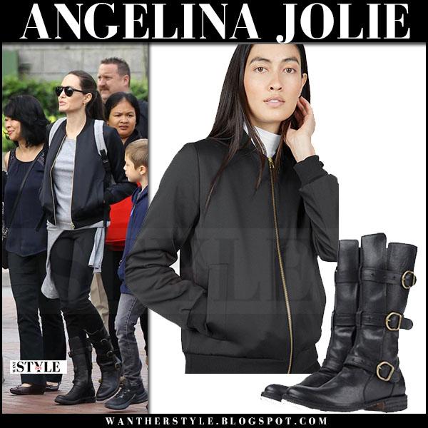 Angelina Jolie in black bomber everlane jacket, black jeans and black boots fiorentini baker what she wore may 26 2017