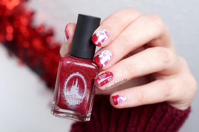 nail art de Noël en rouge et blanc