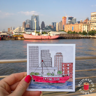 watercolor painting of the Frying Pan lightship at Pier 66 Maritime in NYC
