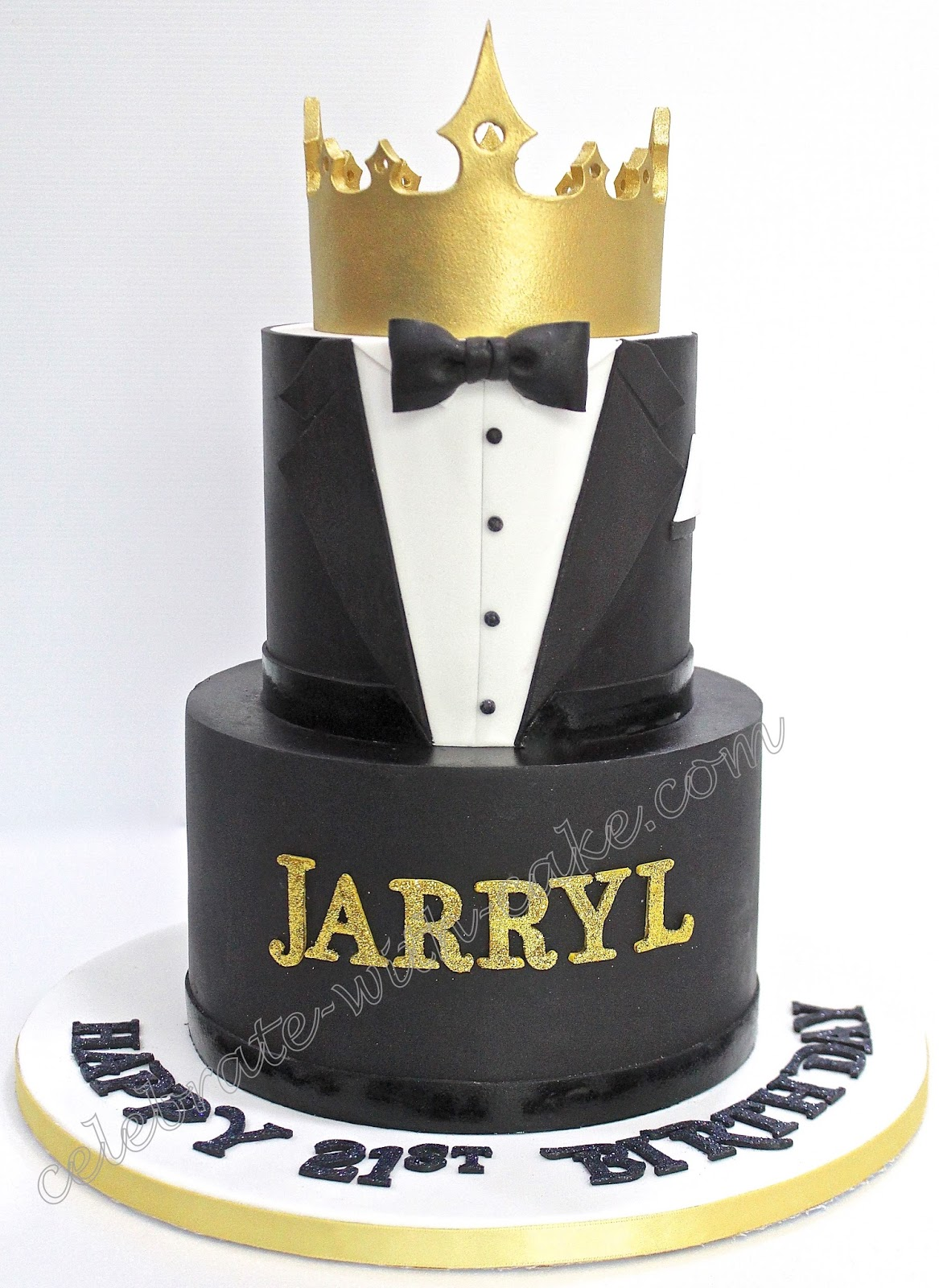 Tuxedo And Crown Cake