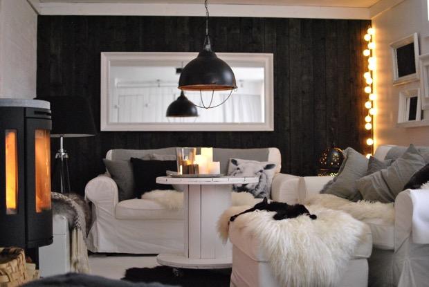 svart panelvägg vardagsrum contura kamin hannashantverk.blogspot.se