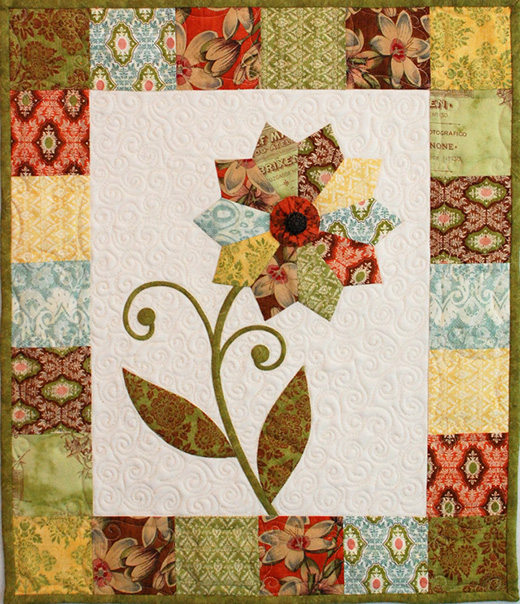 Curio Flower Mini Quilt Free Pattern Designed  by Erin Russek of One Piece at a Time