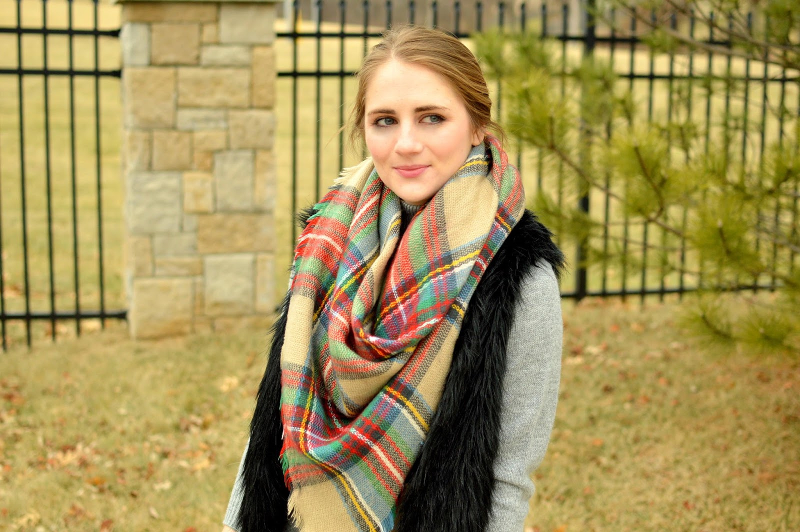 blanket scarf and faux fur vest