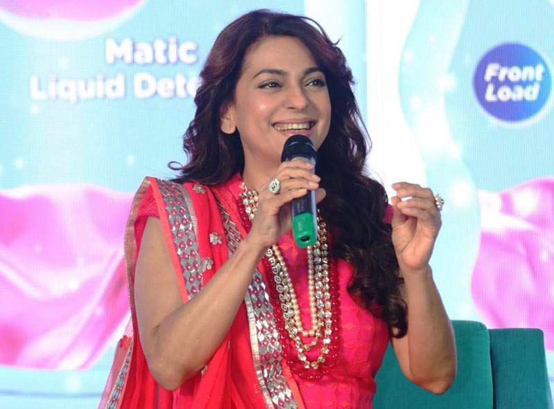 Bollywood actress Juhi Chawla during the launch of Safewash liquid Detergent range