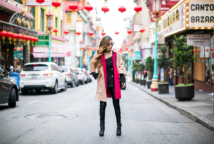 shein colorblock coat, colorblock coat, off shoulder black top, moto pants, chanel boy bag, quay sunglasses, baublebar choker, san francisco china town, san francisco street style, san francisco fashion blog, spring outfit ideas