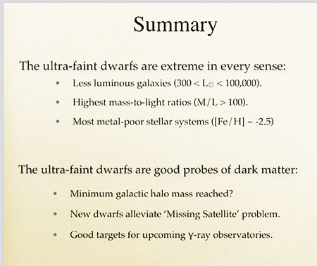 "Summary slide and how finding ultra-faint dwarfs alleviates ""missing satellite problem (Source: Marla Geha, Yale U)"