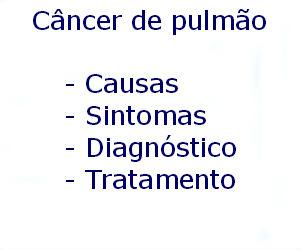 Câncer de pulmão causas sintomas diagnóstico tratamento prevenção riscos complicações