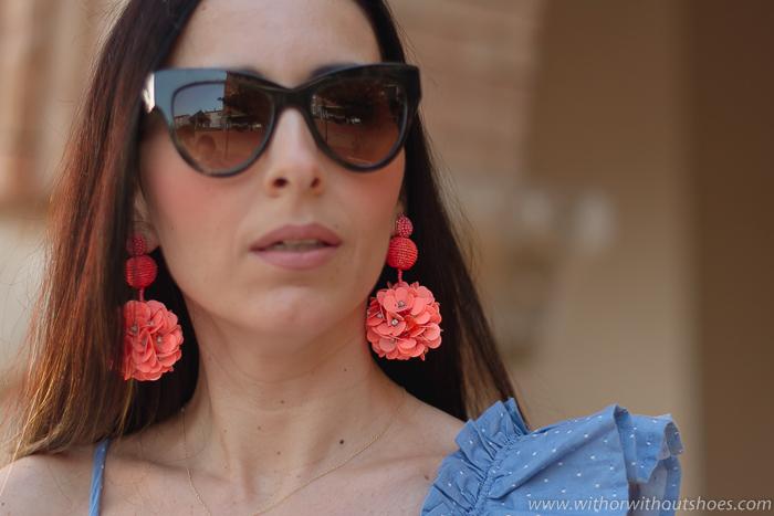 Ideas streetstyle con maxi pendientes bonitos zara y gafas de sol cat eye AM Eyewear