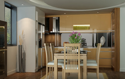 phòng ăn gọn gàng ở căn hộ chung cư nhỏ