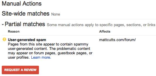 Partial match. User-generated spam affects mattcutts.com/forum/