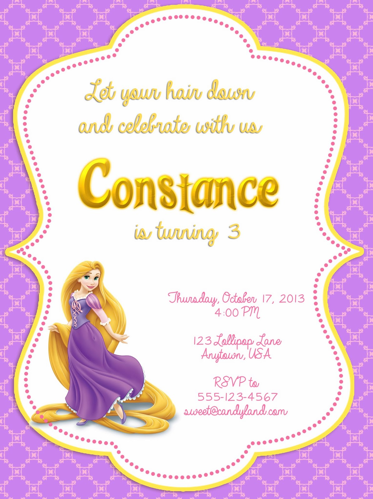 I Make I Share Disney Tangled Printable Invitation