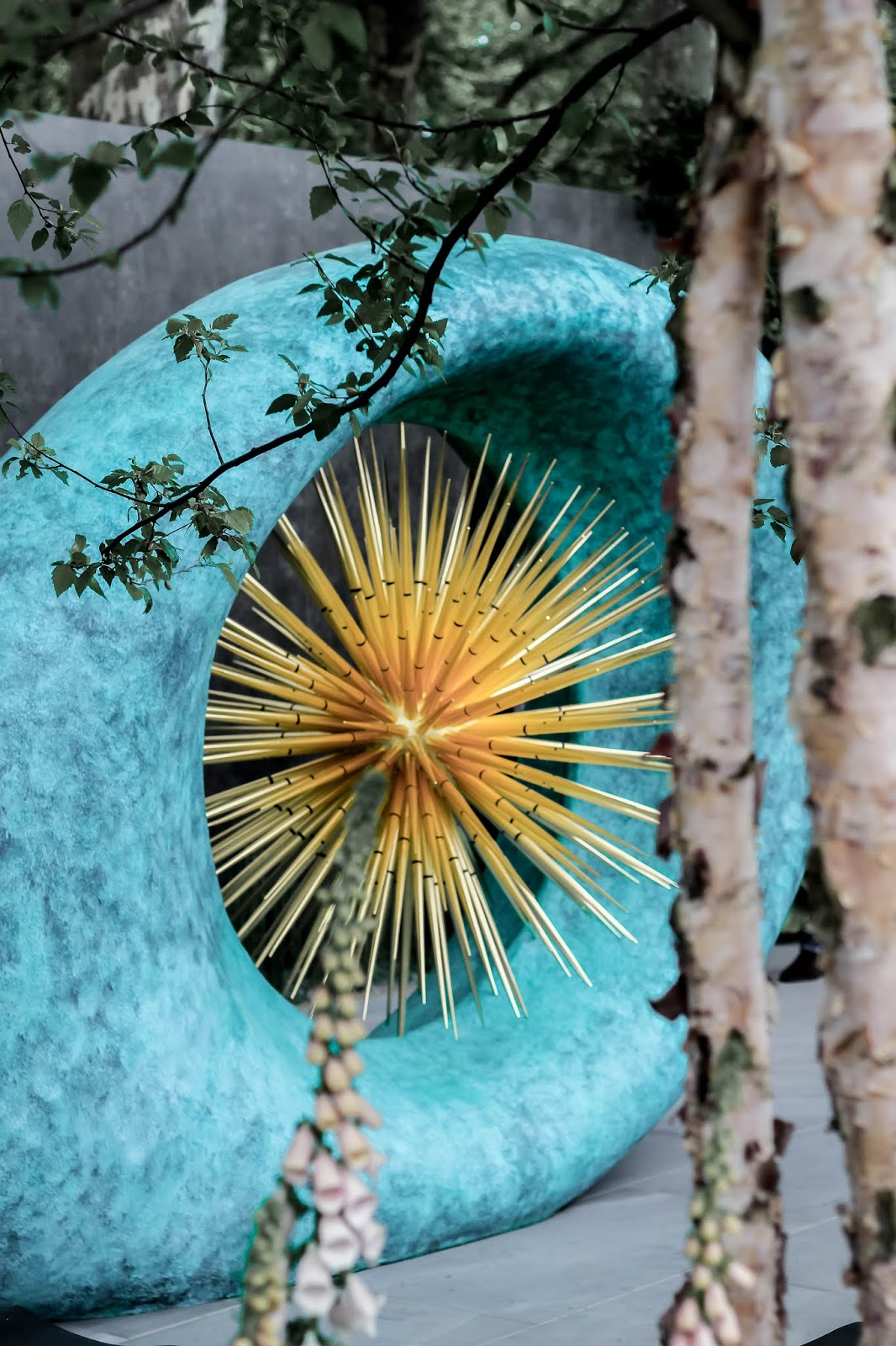 Chelsea Flower Show Turquoise and Gold Artwork Dabid Harber