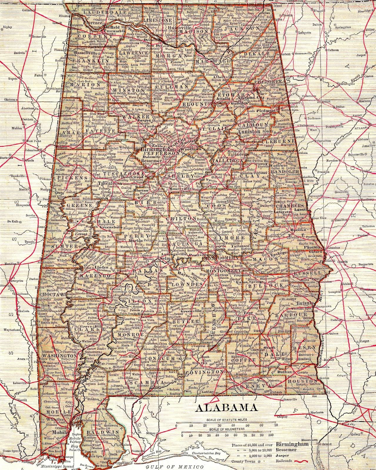 Antique Images: Vintage Map Background Digital Scrapbooking Alabama