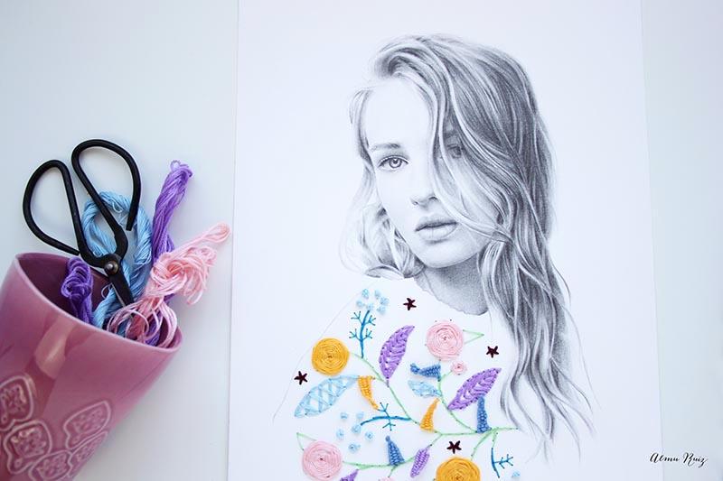 Retrato femenino hecho a lápiz y bordado sobre papel
