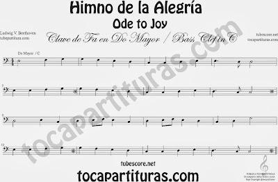 Partitura del Himno de la Alegría fácil en Do Mayor e instrumentos de Clave de Fa (bass clef) C
