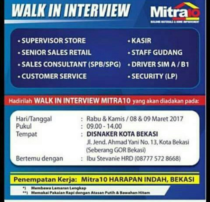 Walk In Interview Mitra 10 Harapan Indah 2017