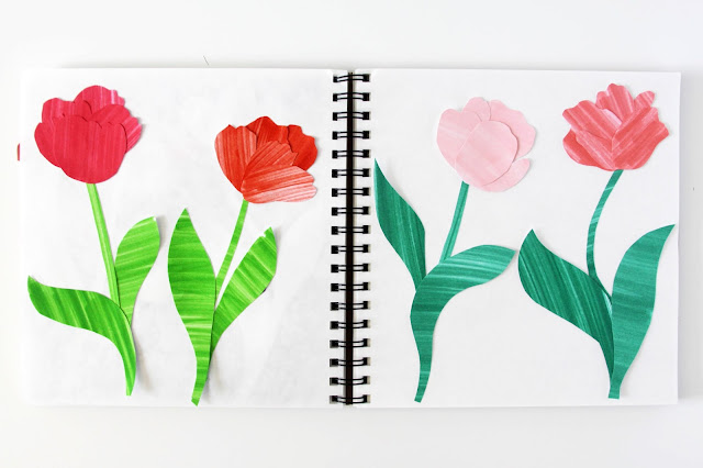 cut paper, collage, tulips, sketchbook, Anne Butera, My Giant Strawberry