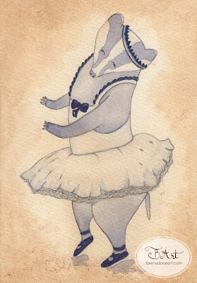 Whimisical Woodland Badger Ballet Dancer Watercolor Series