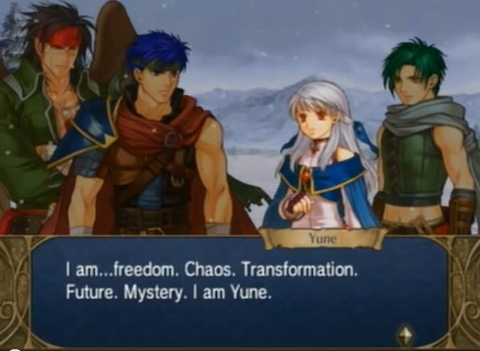 Fire Emblem Radiant Dawn Yune description freedom chaos transformation future mystery
