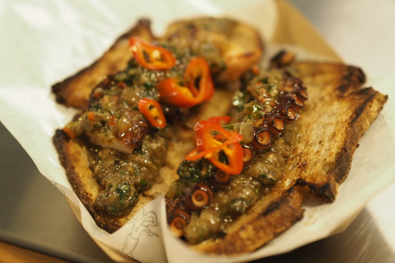 Octopus on smoked aubergine tapenade on toast from Edu London