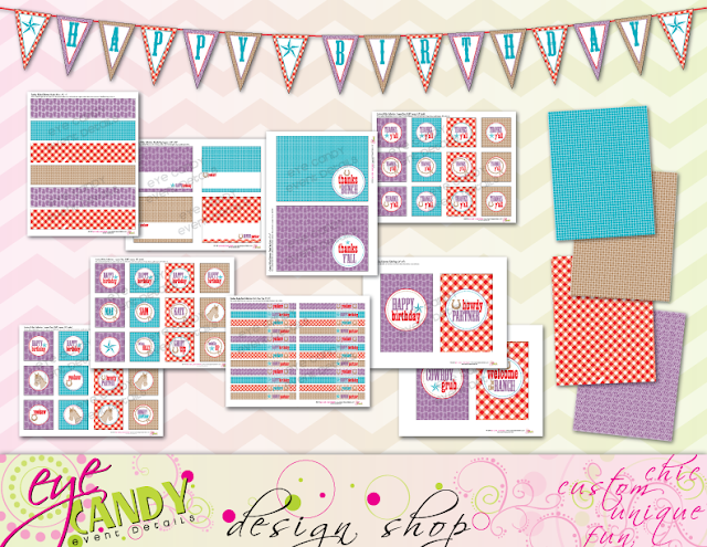 contents of cownoy birthday party collection printables, party decor