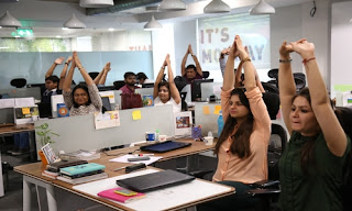 Jabong celebrates International Yoga Day by conducting 'Chair Yoga' for its employees