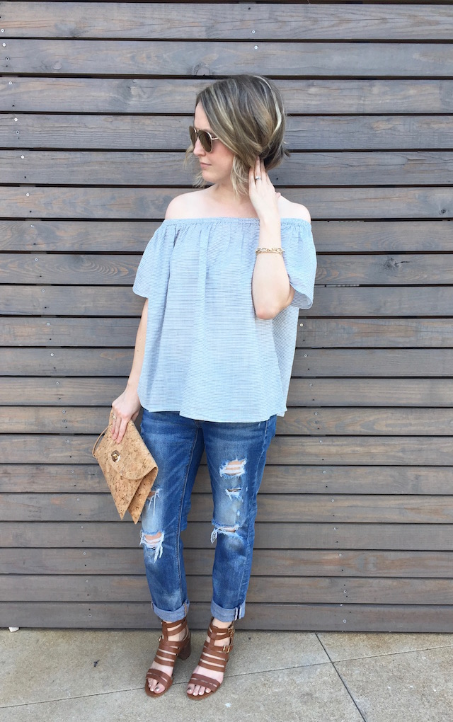 Summer Outfit: Boyfriend jeans, off the shoulder top, aviator sunglasses