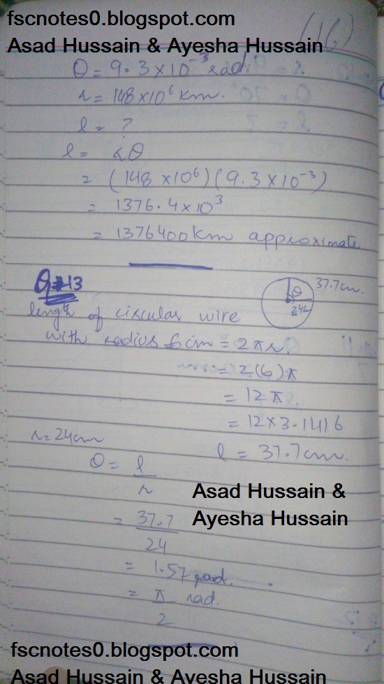 FSc ICS FA Notes Math Part 1 Chapter 9 Fundamentals of Trigonometry Exercise 9.1 Question 8 - 13 by Asad Hussain & Ayesha Hussain 2