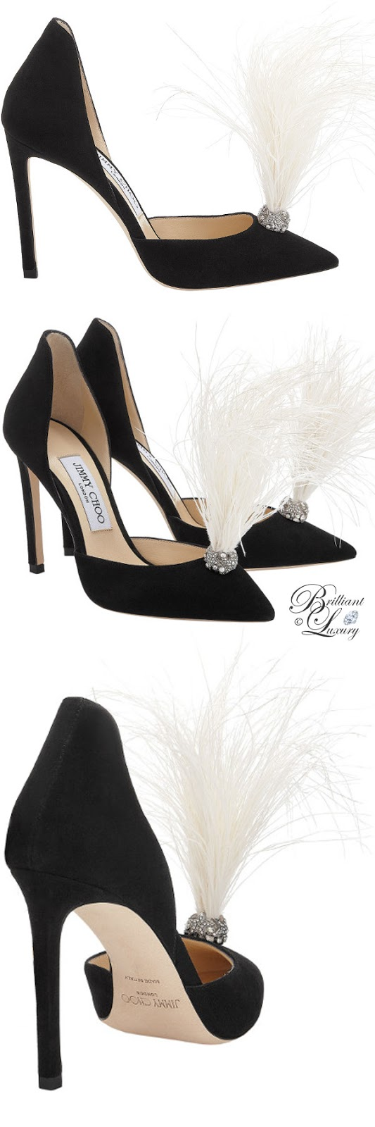 optimized pins Brilliant Luxury ♦ Jimmy Choo Liz Black Suede Pointy Toe Pumps with Crystals and White Fascinator Feathers #brilliantluxury