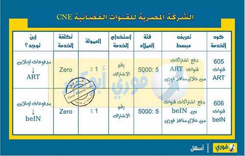 دفع اشتراك قنوات beIN - ART الشركة المصرية للقنوات الفضائية CNE عن طريق فوري