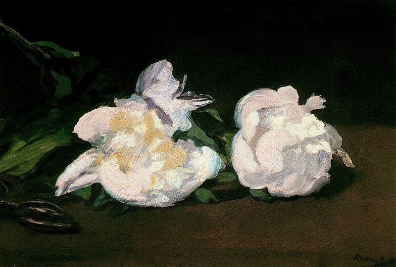 Branca de peònies blanques i tisores de podar (Édouard Manet)