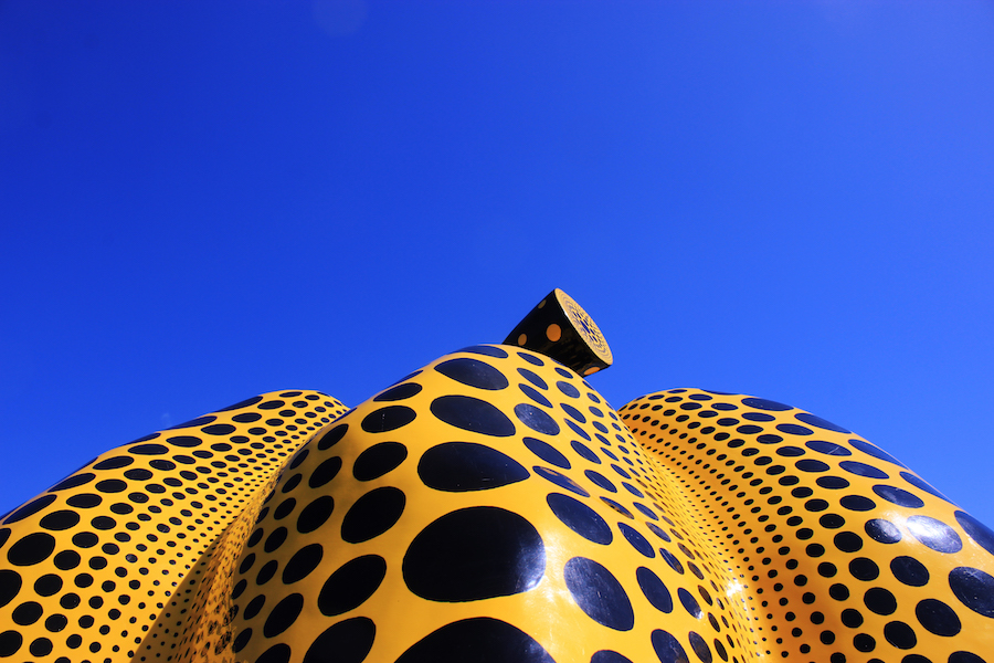 A yellow Yayoi Kusama pumpkin in Benesse outdoor sculpture gallery Naoshima Island Japan