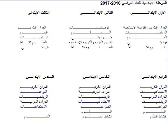 الكتب المنهجية المعتمدة للمرحلة الابتدائية لجميع الصفوف للعام الدراسي 2016-2017