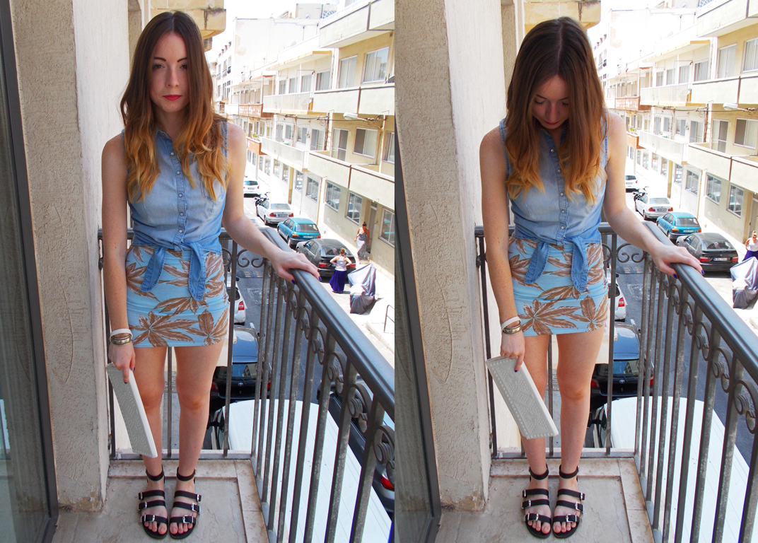 A palm leaf print outfit I wore during my travels in Malta