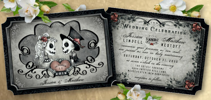 Gothic Gray & Black Halloween Wedding Invitation Template - Halloween Love Wedding Collection