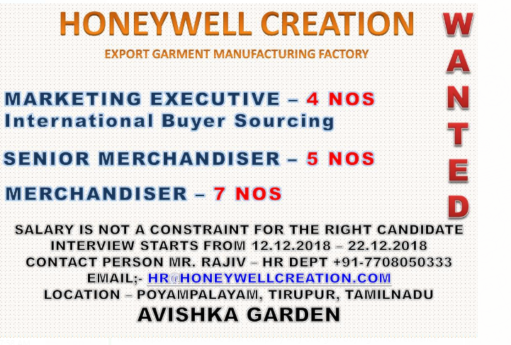 WANTED FOR HONEYWELL CREATION INTERVIEW DATED :12 12 2018 TO 22 12
