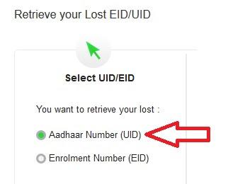 Aadhaar Number (UID) या Enrolment Number (EID) चुने