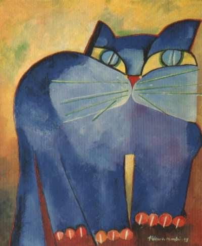 Gato Azul - Aldemir Martins e suas pinturas ~ O pintor de gatos