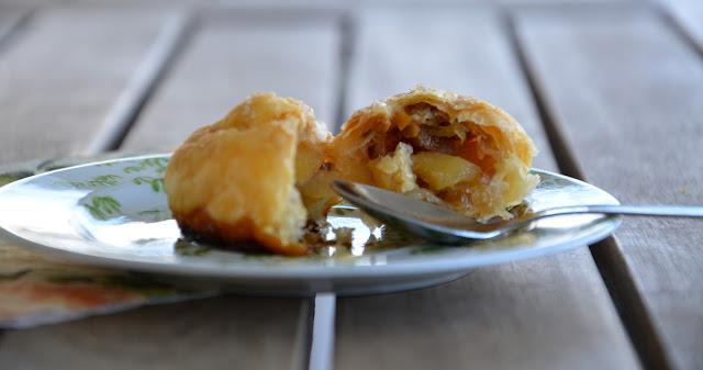 sweet kwisine, pate feuilletée, pommes, fruits secs, jamie oliver, recettes faciles
