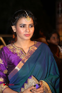 Hebha Patel Stills in Green Silk Saree at Gemini TV Puraskaralu 2016 Event
