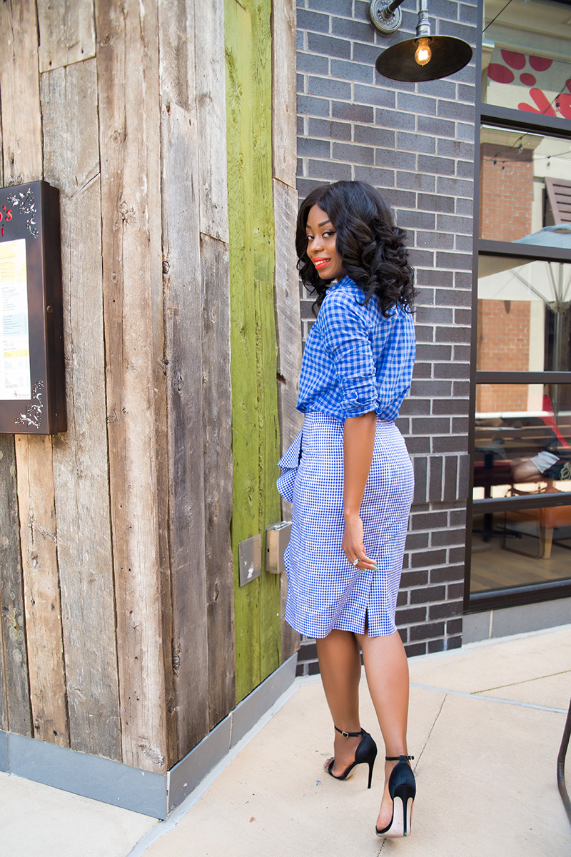 jcrew ruffle skirt, gingham shirt, work style, www.jadore-fashion.com