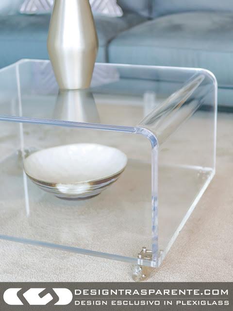 Tavolino trasparente design moderno