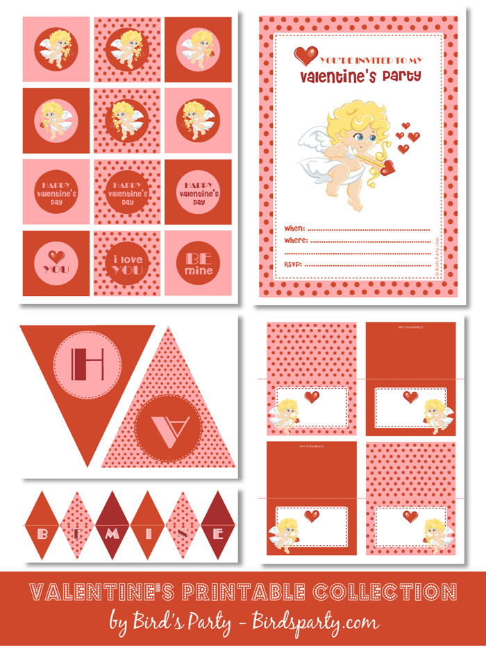 Free Printables Cupid Valentine's Day Party - BirdsParty.com