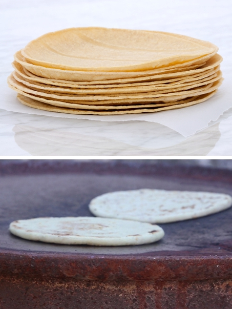 Corn Tortillas pressed above and patted below