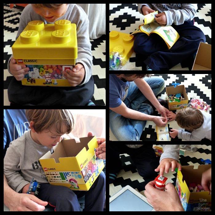 Niño con caja Lego Classic