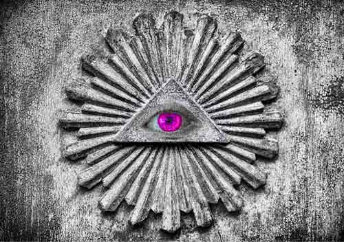 illuminati eye in a wall