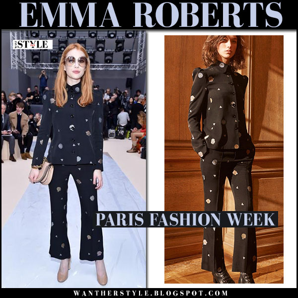 Emma Roberts in black printed shirt and pants chloe front row what she wore paris fashion week