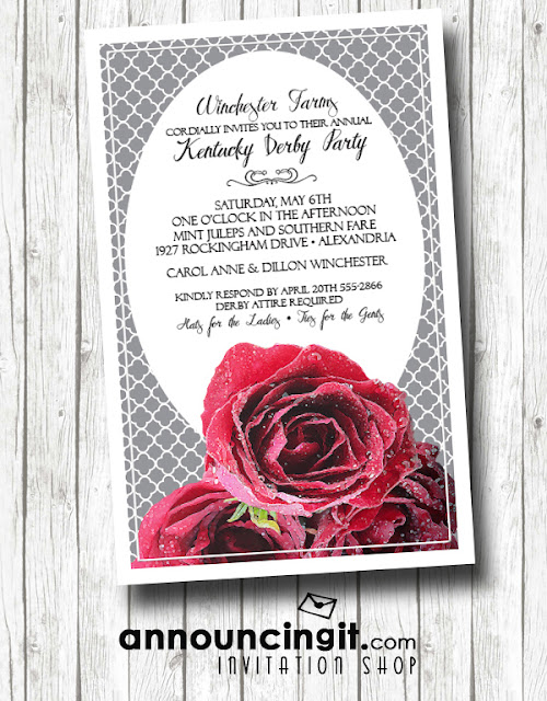 Fresh Red Roses Kentucky Derby Party Invitations from Announcingit.com