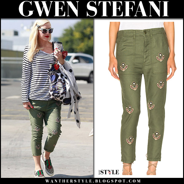 Gwen Stefani in green embroidered cropped pants and striped top the great august 24 2017 street fashion