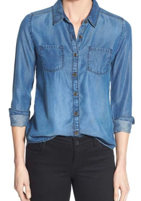 relaxed boyfriend denim long sleeve shirt